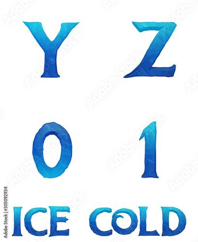 Fotografie, Obraz  Ice Cold Alphabet - 3D Illustration