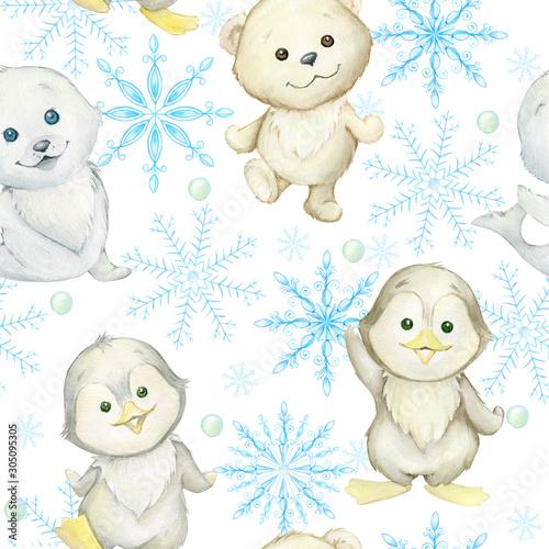 pingwiny-bialy-niedzwiedz-foka-platki-sniegu