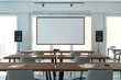 canvas print picture - Projector screen canvas in modern conference room with big windows. 3d rendering. Front view.