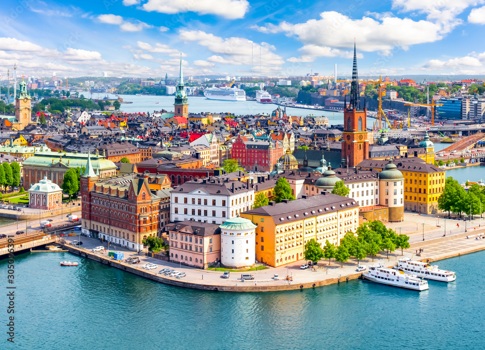 Fototapeta Stockholm old town (Gamla Stan) cityscape from City Hall top, Sweden