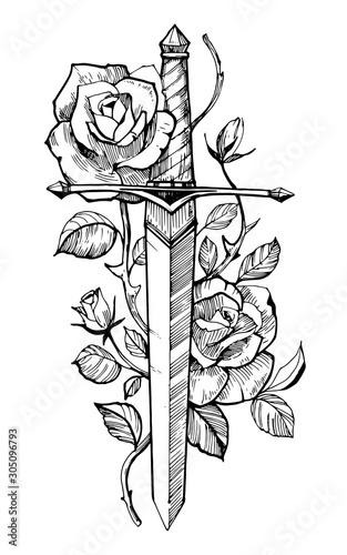 Papel de parede Sword with roses