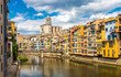 Colorful houses and Eiffel bridge in Girona