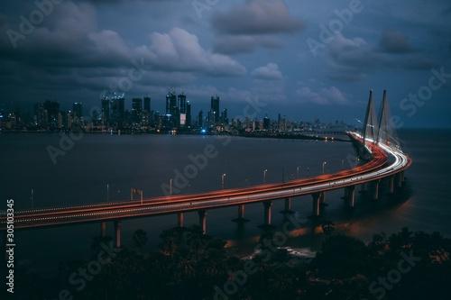 High angle shot of Bandra Worli sealink in Mumbai at night time Canvas Print