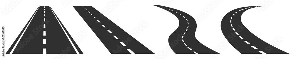 Fototapeta Road, highway isolated on white background. Vector