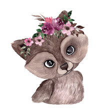 Watercolor Illustration With Cute Raccoon And Winter Flowers, Hand Draw Animal And Floral Element, Isolated On White Background