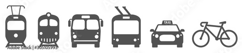 Canvastavla Public transport icons set. Vector illustration