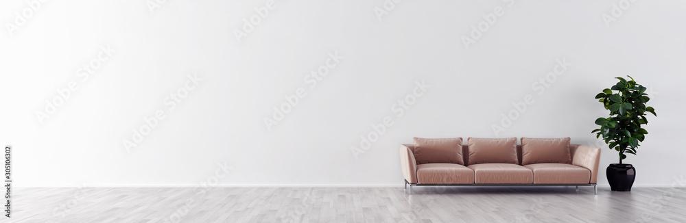 Fototapeta large luxury modern minimal bright interiors room mockup illustration 3D rendering