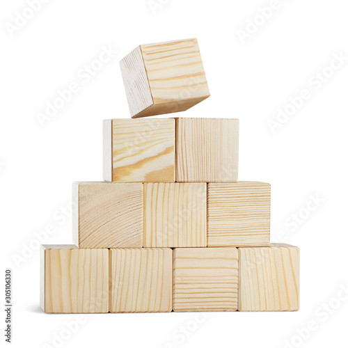 Pyramid of ten wooden cubes, isolated on white background Wallpaper Mural