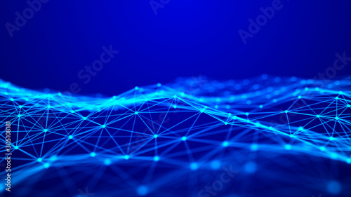 Foto auf Leinwand Violett Wave with connecting dots and lines. Futuristic blue dots background with a dynamic wave. 3d rendering.