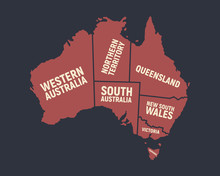 Australia Map. Poster Map Of Australia With State Names. Australian Background. Vector Illustration