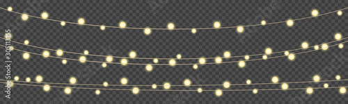 Obraz Illustration of a string of colorful holiday lights, Christmas lights isolated realistic design elements, glowing lights for greeting card design, bright garlands – vector - fototapety do salonu