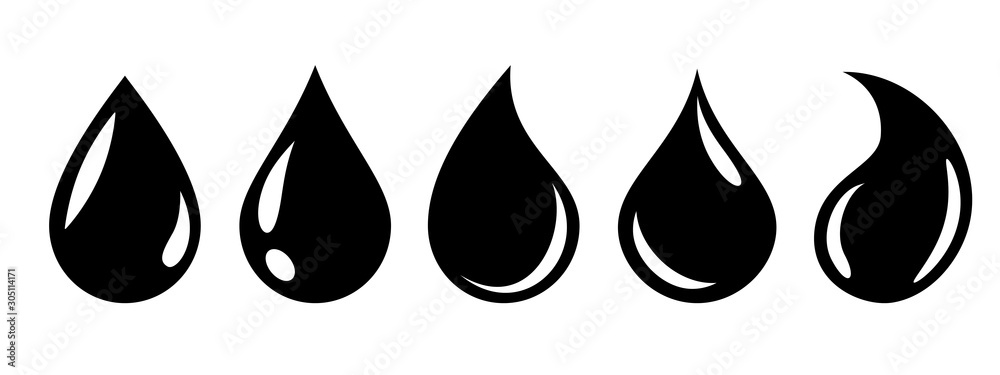 Fototapeta Water or oil drop set icons – stock vector