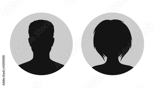 Photographie Man and woman head icon silhouette