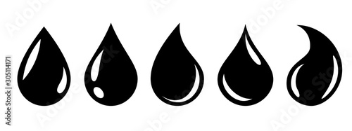 Water or oil drop set icons – stock vector Fotobehang