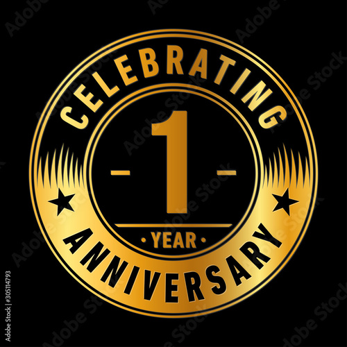 1 year anniversary celebration logo template. One year vector and illustration. Fotomurales
