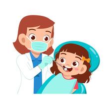 Happy Cute Kid Go To Dentist C...