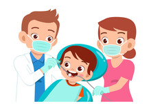 Happy Cute Kid Go To Dentist Check