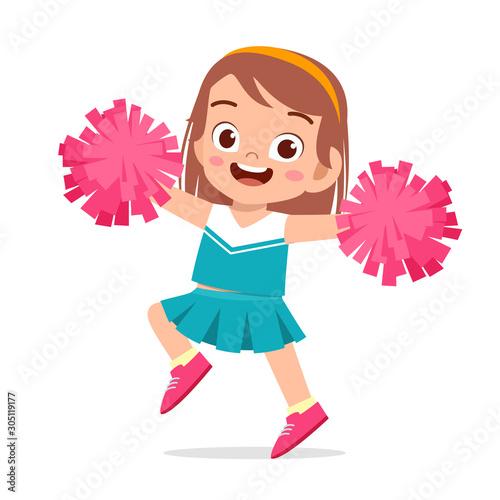 Fotografía happy cute girl wear cheerleader cute uniform