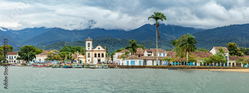 Panoramic view of Paraty Bay, church and historic center of Paraty city in Rio de Janeiro, Brazil Canvas Print