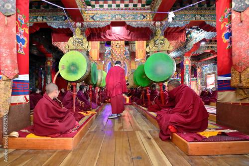 Stampa su Tela  India, Buddhist monk at Tawang - Torgya Festival.