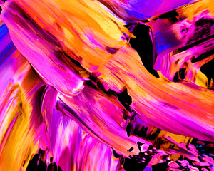 Background design of painted acrylic oil paint fluid liquid color purple and yellow with creativity and Modern artwork