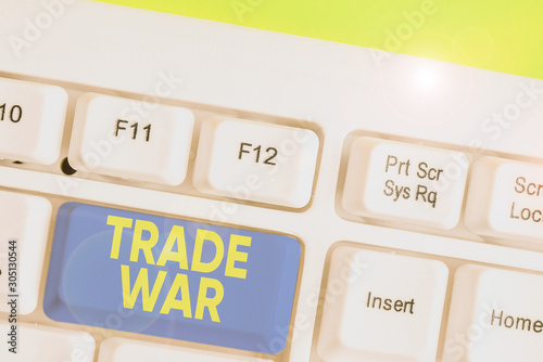 Conceptual hand writing showing Trade War Canvas Print