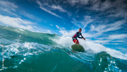 Longboard Surfing man on board Canvas Print