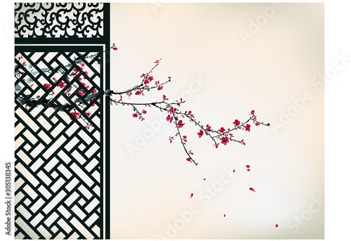 Fotografia  Chinese traditional cherry blossom painting