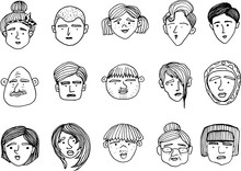 Hand-drawn Doodle Faces Of Peo...