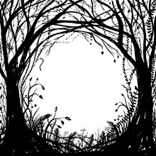 Hand Drawn Enchanted Forest. V...