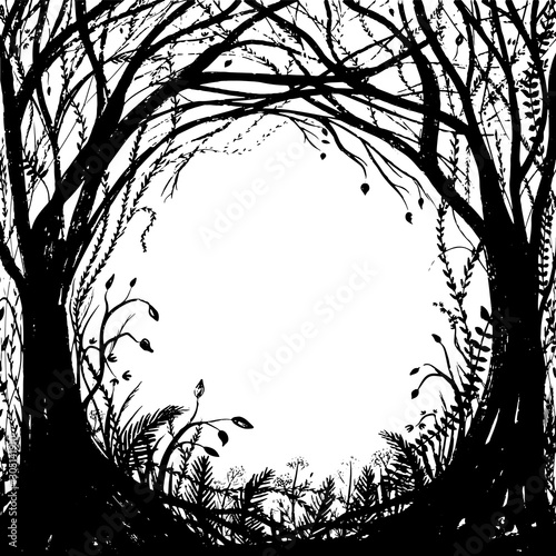 Photo Hand drawn enchanted forest