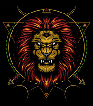 Vector Color Lion Illustration. Lion Head Vector Design