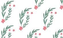 Background Of Cute Green Leaves And Pink Flowers