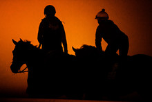 Ponying Racehorse Silhouette
