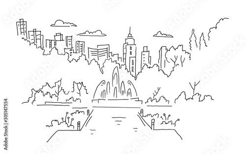 park-miejski-z-fontanna-pano