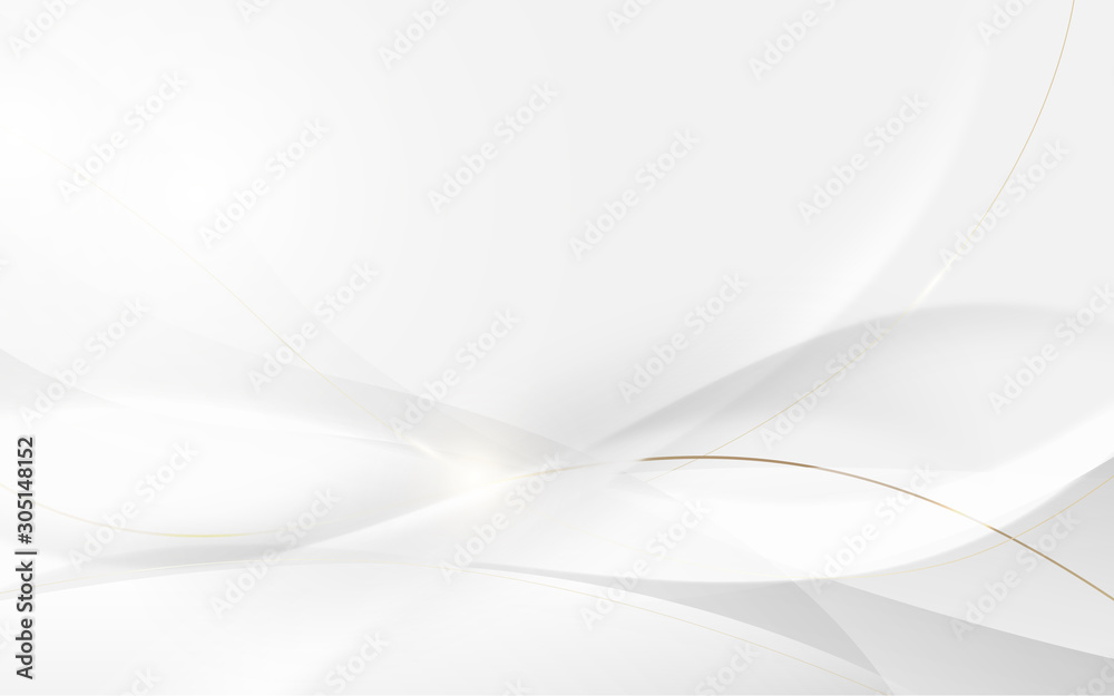 Fototapeta Abstract modern futuristic white wavy and gold lines with blurred light curved lines background