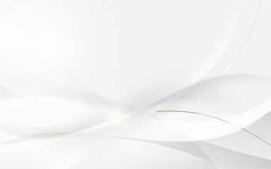 Abstract modern futuristic white wavy and gold lines with blurred light curved lines background