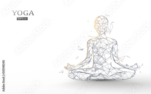Carta da parati Person practices yoga and meditation in the lotus position