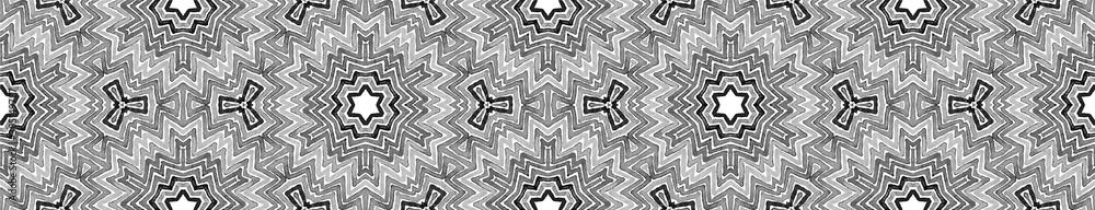 Fototapeta Black and white Seamless Border Scroll. Geometric