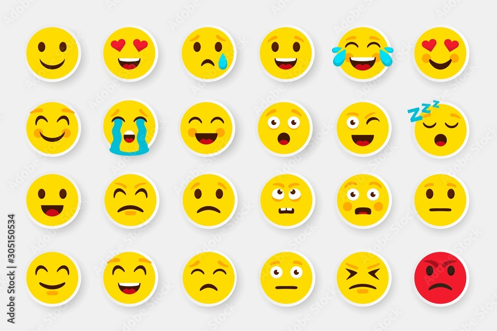 Fototapeta Emoji sticker face set. Emoticon cartoon emojis symbols. Vector digital chat objects icons set. How express feeling to looking good pack that be nice buy