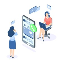 Customer Support Isometric Con...