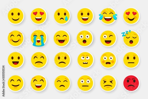 Obraz Emoji sticker face set. Emoticon cartoon emojis symbols. Vector digital chat objects icons set. How express feeling to looking good pack that be nice buy - fototapety do salonu