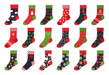 Christmas Socks. Cartoon Trendy Flat Clothing Element And Winter Celebration Attributes With Patterns And Ornaments. Vector Set Holiday Colorful Stocking Illustrations Like Winter Colorful Ornate