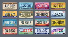 Car Plates. American Registration Numbers Of Different States, Vehicles License Plates. Vector Isolated Illustration Colored Signs Set On Gray Background