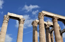 Ancient Columns Of The Temple Of Zeus In Athens On A Sunny Day
