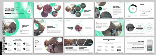 Fotografie, Tablou  Green presentation templates elements on a white background