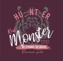 Typography Slogan On Tiger Ill...