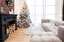 Interior Of Living Room Decorated For Christmas Celebration