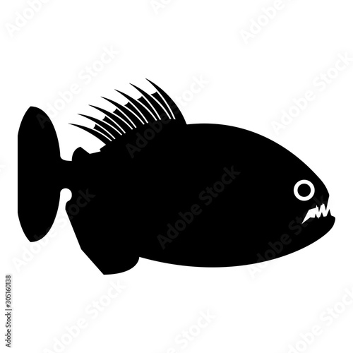Fototapeta  Piranha angry fish icon black color vector illustration flat style image