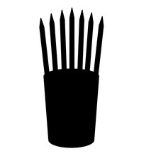 Pencils In Glass Stands Upright Office Supplier Concept Work Place Icon Black Color Vector Illustration Flat Style Image